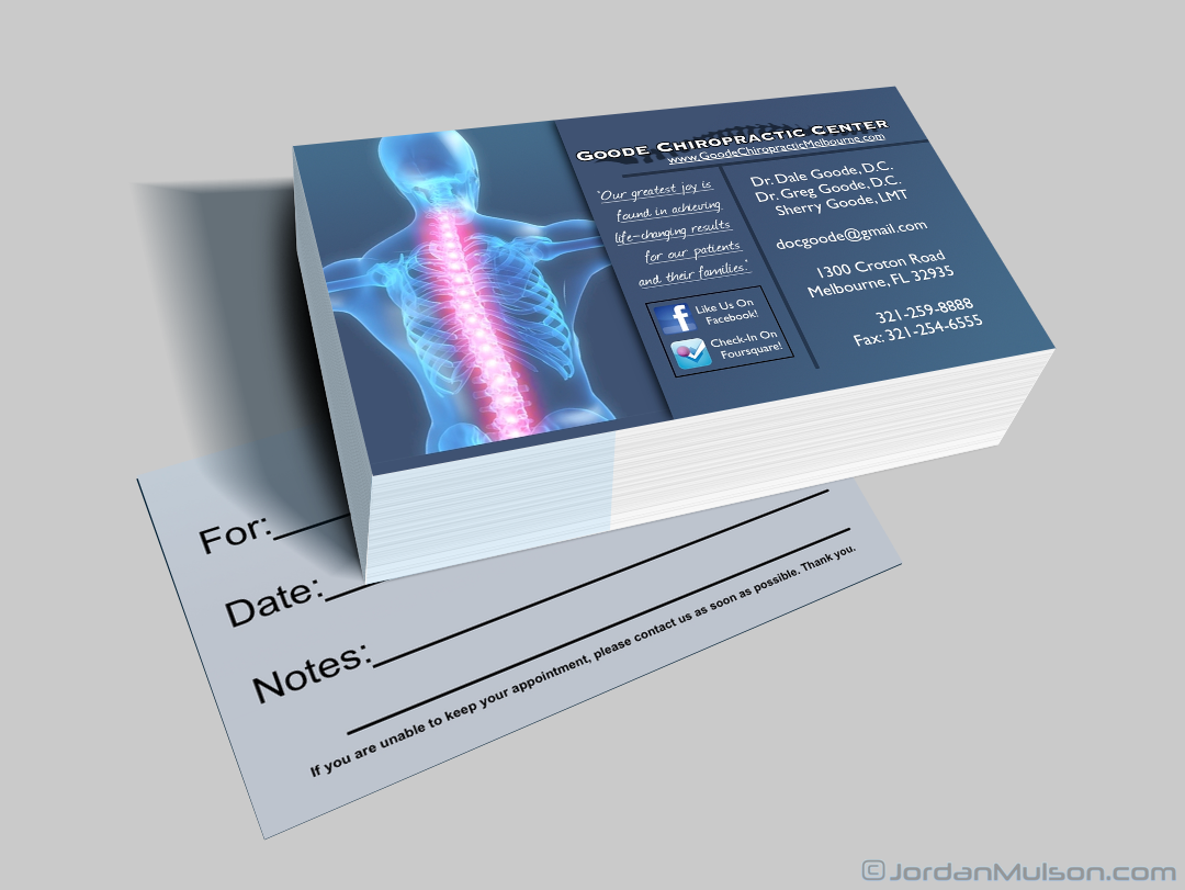 Chiropractic business cards reheart